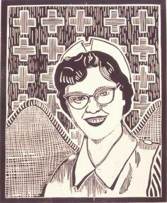 Vintage Nurse Linocut SALE Cousin Diane Retro by Printmistress888 $50 Judith Hladik-Voss   https://www.etsy.com/listing/45408743/vintage-nurse-linocut-sale-cousin-diane