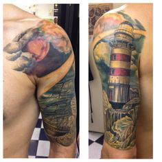 Craig's lighthouse half sleeve all healed except for some minor touch ups