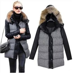 Womens Downs Long Coats Woman Fox Fur Hood Down & Parkas Women ...