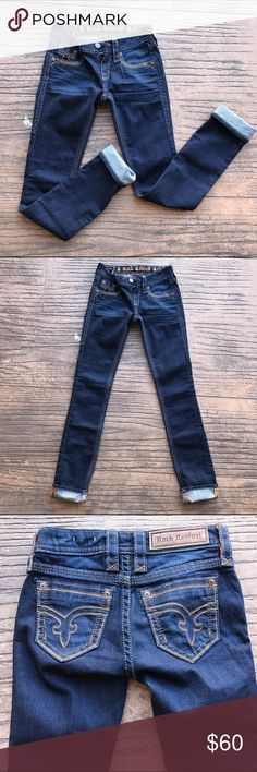 Rock Revival Sherry Straight Jeans Size 24 Sherry straight leg jeans. Never been worn, a little too tight for me. I'm thinking inseam is around 32-33 but I can't find any tags that say for sure. Rock Revival Jeans Straight Leg
