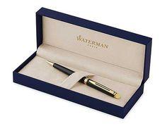 Waterman-Hemisphere-Black-with-Golden-Trim,-Ballpoint-pen-with-Medium-Blue-refill