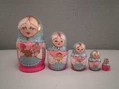 Russian Nesting Dolls Matryoshka Dolls Blue Pink Wood by hopsack, $42.00