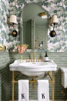 green tiile, gold accents, arched mirror Round Kitchen, Kitchen And Bath, Bathroom Inspo, Bathroom Inspiration, Design Inspiration, Bathroom Ideas, Hartford House, Small End Tables, Bathroom Renos