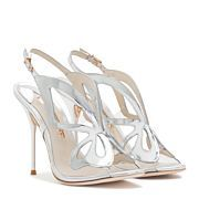 Cute pink leather sandal finished with sparking rose gold glitter laser cut Angel Wing detail.