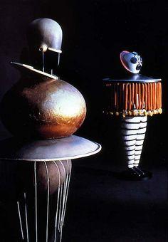 """Bauhaus instructor Oskar Schlemmer's costume designs """"Goldkugel and Taucher"""" for the """"Triadischen Ballet"""" 1922,"""