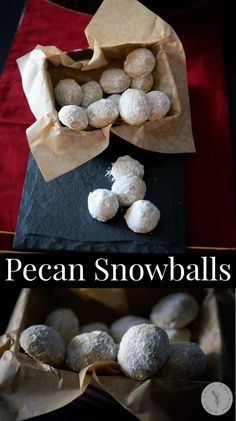 Pecan Snowballs are a rich, buttery pecan cookie rolled in confectioners sugar and make a delicious addition to your holiday cookie platters. Holiday Pies, Holiday Cookies, Holiday Baking, Christmas Food Treats, Christmas Cookie Exchange, Cookie Desserts, Cookie Recipes, Dessert Recipes, Snack Recipes