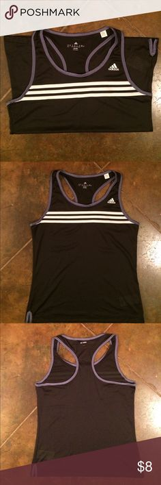 Adidas Tank top Women's medium adidas mesh Tank top. Black mesh with light purple trimming and white stripes. No snags barely worn, excellent condition! adidas Tops Tank Tops
