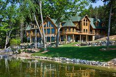 Michigan log home lake front WOW