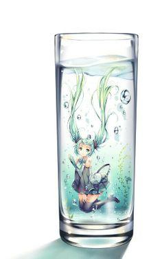 ☆ #AnimeTime ☆  Anime art ☆ Vocaloid - Hatsune Miku - girl in a glass