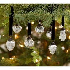 Pottery Barn Mini Mercury Glass Shaped Ornaments - Set of 24 featuring polyvore, home, home decor, holiday decorations, xmas tree ornaments, mercury glass home decor, mini mercury glass ornaments, mercury glass ornaments and pottery barn