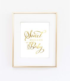 Sweet Dreams Print - This darling gold foil print is a must for any nursery gallery wall!