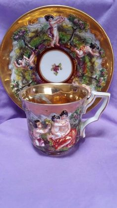 """REDUCED!!  VINTAGE CAPODIMONTE """"N"""" Crown Demitasse CUP and SAUCER"""