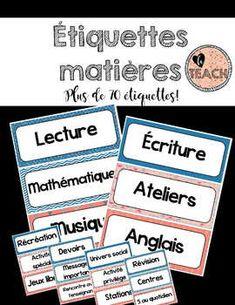 Plus de 70 étiquettes pour le menu du jour pour le primaire et le secondaire, incluant un ensemble sans texte Monopoly, D Day, Reading