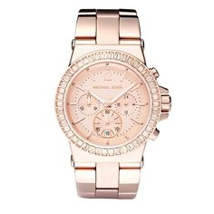 Michael Kors Baguette-Bezel Watch, Rose Gold found on Polyvore <3