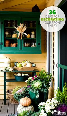 Find festive inspiration to spruce up your front entry this fall. More fall decorating ideas: http://www.bhg.com/halloween/outdoor-decorations/pretty-front-entry-decorating-ideas-for-fall/?socsrc=bhgpin102113falldecorating