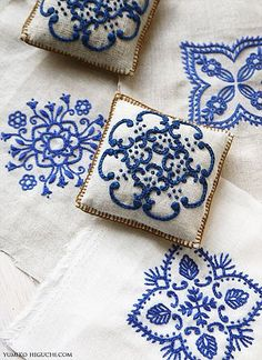 """What to do with embroidered """"napkins""""-make little pillows"""