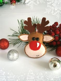 Christmas ornaments felt Rudolph Reindeer ornament Christmas felt ornaments The…