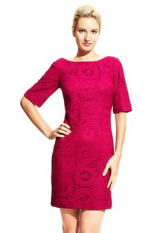 ADRIANNA PAPELL Bateau Neck Crochet Dress $49.99