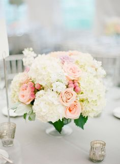 Hydrangea and Rose Centerpieces. #wedding #flowers