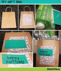 DIY Gift Bag from plain kraft paper bag
