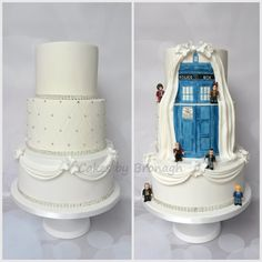 Dual sided Dr Who wedding cake. Handpainted tardis with Lego men on the back. Swags, quilting and diamanté at the front.