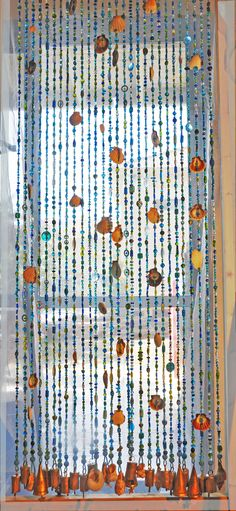 Door beaded curtains Door beads with sea shells Seashells Crystals And Gemstones, Crystal Beads, Glass Beads, Hanging Door Beads, Beaded Door Curtains, Lampwork Beads, House Colors, Wind Chimes, Sea Shells
