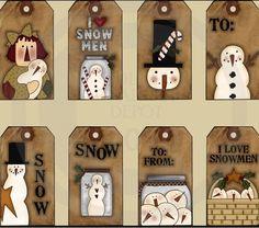 Prim snowmen tags
