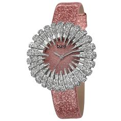 Give character to your attire with this sparkling quartz watch from Burgi. This watch features rose-tone colors and genuine crystals with a sparkling colorful dial and matching strap to add a touch of Patek Philippe, Devon, Cartier, Online Shopping, Holiday Fashion, Holiday Style, Turquoise, Beautiful Watches, Silver Flowers