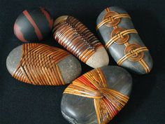 Cane wrapped rocks