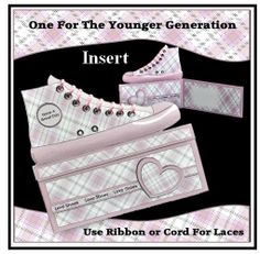 A range of fun cards for the younger generation. The card is laced at the top - you can use either ribbon or cord for this novelty touch. Cool Cards, Chuck Taylor Sneakers, Fun Crafts, Lilac, Craft Projects, Louis Vuitton, Crafty, Shoes, Image