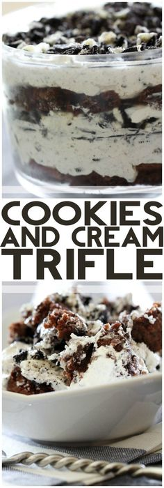 Cookies and Cream Trifle from chef-in- .This recipe is jam packed with chocolatey and creamy goodness that will completely WOW your company! Brownie Desserts, Trifle Desserts, Oreo Dessert, Eat Dessert First, Mini Desserts, No Bake Desserts, Just Desserts, Delicious Desserts, Dessert Recipes