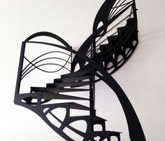 Escalier design contemporain double quart tournant de style Art Nouveau, dessiné par Jean Luc Chevallier pour La Stylique.