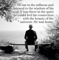 he sat in the stillness and listened to the wisdom of the soul. it was there in the quiet he could feel his connection with the beauty of the universe. Be Still Quotes, A Course In Miracles, Spiritual Awakening, Spiritual Wisdom, Spiritual Warrior, Spiritual Guidance, Way Of Life, Inner Peace, Peace Of Mind