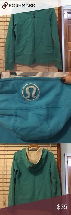 Lululemon jacket size 6 Lululemon hoodie, turquoise/blue, size 6, lululemon cotton fabric, waistband and wrist bands are slightly stained from wear. Otherwise good condition lululemon athletica Tops Sweatshirts & Hoodies