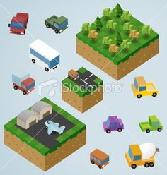 Pre Assembled isometric Map Royalty Free Stock Vector Art Illustration
