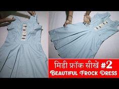 मिडी फ्रॉक सिलाई Midi Frock Stitching in Hindi Middy Dress, Frock Dress, Beautiful Frocks, Dress Tutorials, Dress Cuts, Kurti, Stitching, Boho, Denim