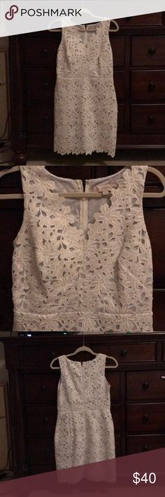 Lace sundress Worn once and in excellent condition. White lace dress with light blue lining LOFT Dresses