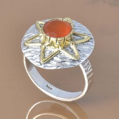 RED ONYX 925 SOLID STERLING SILVER EXCLUSIVE RING 5.20g DJR7401 #Handmade #Ring