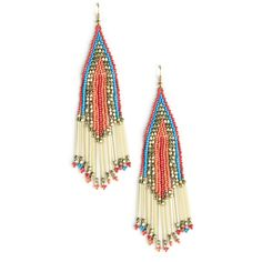 Sole Society Beaded Boho Drop Earrings (€36) ❤ liked on Polyvore featuring jewelry, earrings, multi, tri color earrings, glass earrings, glass jewelry, beaded earrings and beads jewellery