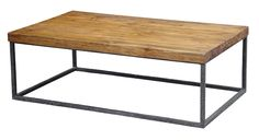 """Luke Cocktail Table - Hand-hammered Iron Base w/Reclaimed Teak Top  54.5""""W x 32""""D x 18""""H"""