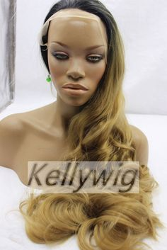 Free ship glueless lace front wig synthetic hair ombre color wavy free ship glueless lace front wig 20inch 1bbrown wavy synthetic hair full wig pmusecretfo Choice Image