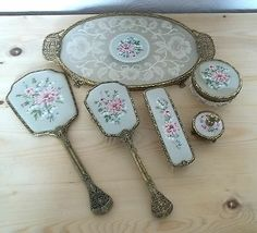 Vintage 6 Piece English Filigree Lace Dressing Table Manicure Set ...