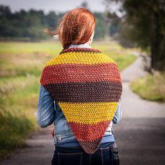 Crochet Cotton Triangle Scarf for Women, Hand Crochet Multicolored Scarf