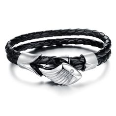 STYGIAN Feather Genuine Leather Rock Bracelet