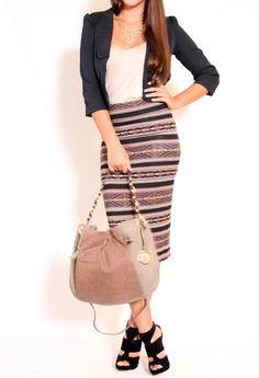 ADORBS! Vintage Stripe Printed Rayon Skirt