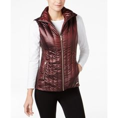Calvin Klein Performance Quilted Vest, Created for Macy's (44 CAD) ❤ liked on Polyvore featuring outerwear, vests, metallic chianti, metallic vest, red quilted vest, red waistcoat, calvin klein and calvin klein vest