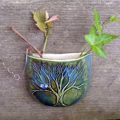 Pocket Pot  with Carved Tree with Blue Bird - Pottery - Green Blue - Teal - Stoneware Porcelain Blend Decorative