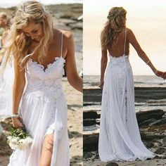 Sexy Fancy Beach Wedding Dresses Spaghetti Backless White Ivory Lace Bridal Gown in Clothing, Shoes & Accessories | eBay