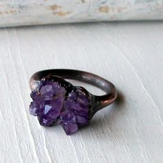 Copper Ring Amethyst Purple Lavender Violet Raw by MidwestAlchemy, $72.50