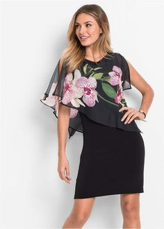 The lovely orchid print chiffon throw gives this fitted shift dress a more sophisticated feel. Perfect for evenings and formal events. 90 cm in) Floral Embroidery Dress, Print Chiffon, Office Ladies, Sexy Dresses, Peplum Dress, Sexy Women, Cold Shoulder Dress, Shops, Plus Size